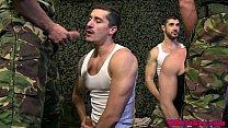 Muscled british stud jocks group blowjob