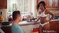 MOM Sexy ebony MILF Kiki Minaj deepthroats and fucks in kitchen)