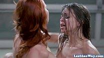 Redhead lezdom dominates oral orgy