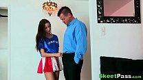 Hot Teenage Cheer Girl Bends Over For Class Tut...
