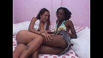 Lesbian ebony girls scissor each other in the bed room