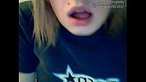 Blonde emo licking dildo