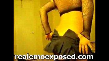 Emo girl in fishnet striptease at home webcam striptease
