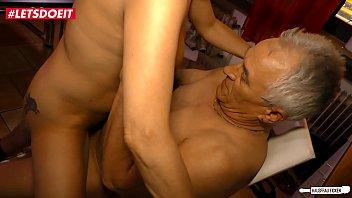 LETSDOEIT - Horny German Granny Literally Fucks The Guy Next Door