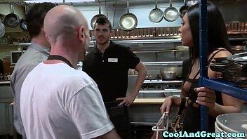 thumb Housewife Big Facial In Restaurant Restroom