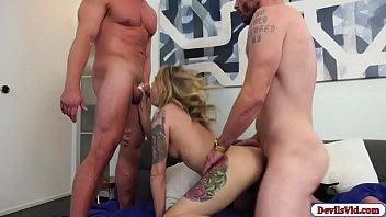 Hot babe fucks husband and her neighbor