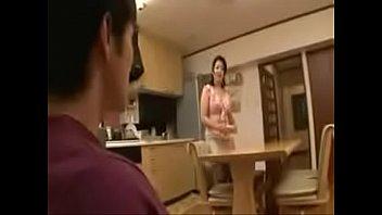Japanese stepmom bathing with stepson