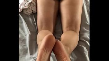 Reverse footjob from hot ass wife
