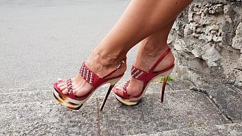 Footjob with high heels