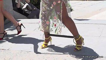 thumb Ebony Slave Gets Cane In Public Bar