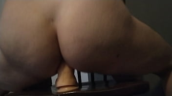 Homemade - Girl with hairy pierced pussy riding a big dildo (anal) anal solo-female