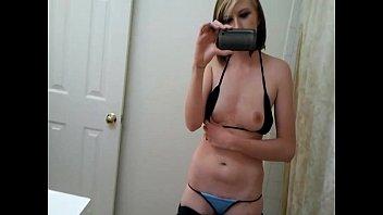 Home alone girl recoring self shot video teen shot