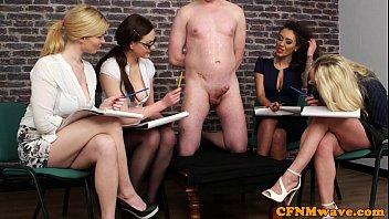 CFNM femdoms humiliating ballgagged dude  #7885