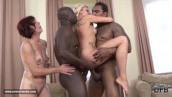 black woman White cums man in