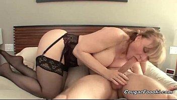 Sexy blonde cougar gets nailed hard