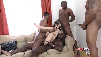 Mega interracial gangbang - arwen gold versus 4 huge black cocks