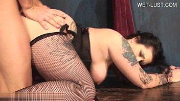 Busty tattooed woman extreme blowjob