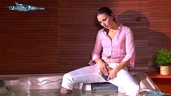 Alissa Home Alone :) (Wet masturbation) Wetlook Sex stockings shirt