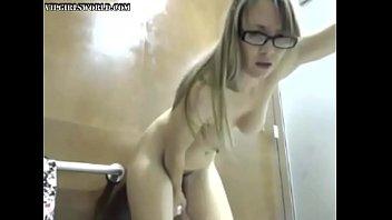 Horny blonde fucks her dildo in a public bathroom - vipgirlsworld.com
