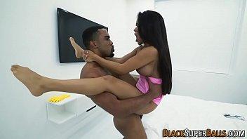Latina riding black cock