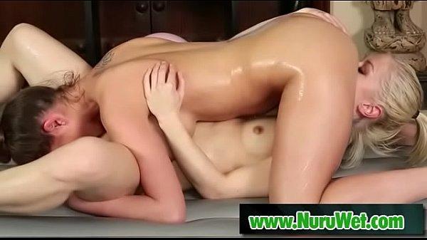 Sweet lesbians at nuru massage - Ash Hollywood & Brooklyn Chase