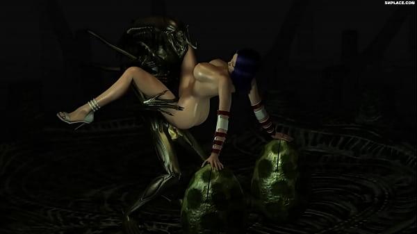 3D Alien fucks girl with blue hair -SMPlace com