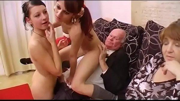 Grandfather fucks orgy with three girls