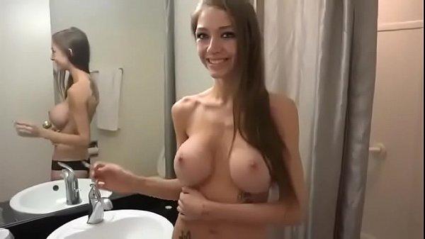 Big tits girls smoking in bathroom