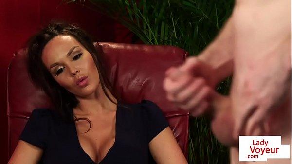 Busty british voyeur instructing jerking subs 6 min HD