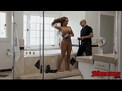 Busty MILF Richelle Ryan gagging on monster bla...