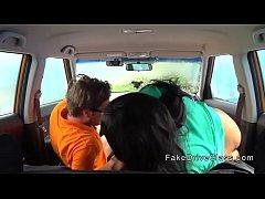 Fat ebony banged in driving school car