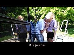 Lucky grandpa fucks sexy teenager blonde in a van