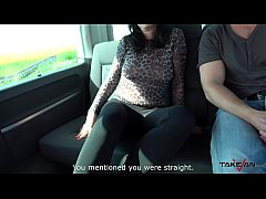 Chubby slut use muscle dude in his car to get c...