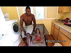 Huge muscled black dude bangs petite teen