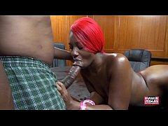 Slim Ebony Takes It In Both Holes