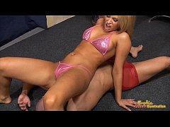 Aleska Diamond in bikini attacks her servants balls