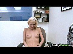 Tiny blonde gets facial Ella Marie 1.1
