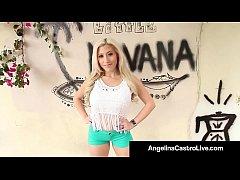 Cuban Queen Angelina Castro StrapOn Fucks Asian Cristi Ann!