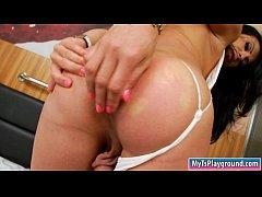 Busty shemale Alana Ribeiro masturbates until she cums