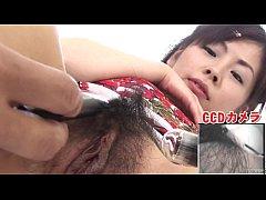 Subtitled bottomless Japanese pubic hair shavin...