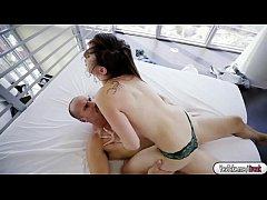 Petite babe Ashlynn Taylor riding Seans huge dick