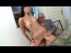 Tricky Old Teacher - Simona's first time blowjo...