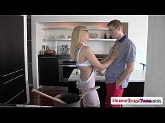 Stunning milfs threeway fun with teen couple