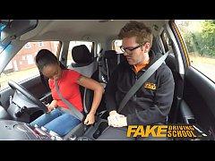 Fake Driving School ebony learner with big tits...