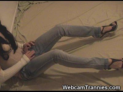 Tranny Jeans Fetish on Cam!