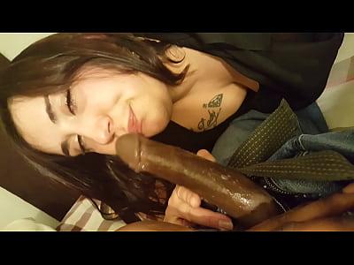 Sexy thick white girl sucks bbc