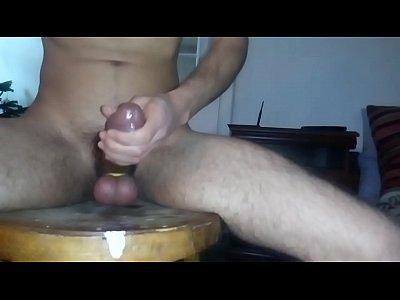 Riding on dildo, jump on balls and twice cum