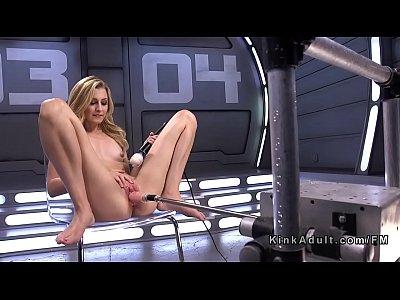 Slim blonde screws fast fucking machine
