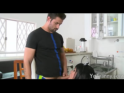 Busty shemale maid gets her ass rammed