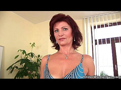 Granny Wanda with her hard nipples and hirsute pussy masturbates